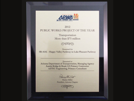 Project of the Year 2012 SR303L: Happy Valley Pkwy to Lake Pleasant Pkwy